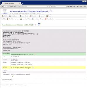 Klienten-Stammdaten, Kontakt & Massnahme